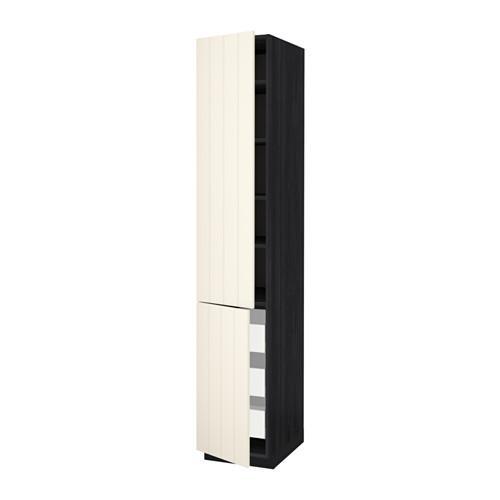 МЕТОД / МАКСИМЕРА Высокий шкаф+полки/3 ящика/2 дверцы - под дерево черный, Хитарп белый с оттенком, 40x60x220 см