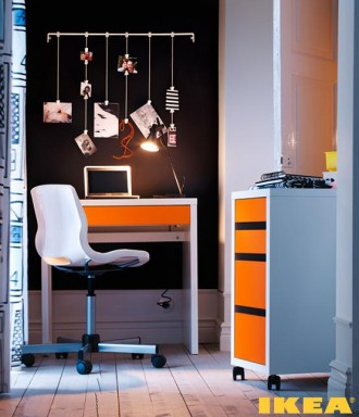 The interior of the working cabinet IKEA