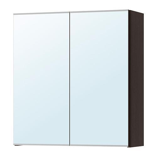 ЛИЛЛОНГЕН Зеркальный шкаф с 2 дверцами - черно-коричневый