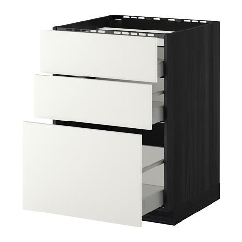 МЕТОД / МАКСИМЕРА Напольн шкаф/3фронт пнл/3ящика - 60x60 см, Хэггеби белый, под дерево черный