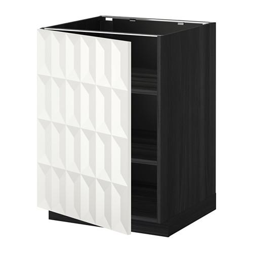 МЕТОД Напольный шкаф с полками - 60x60 см, Гэррестад белый, под дерево черный