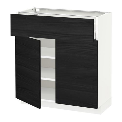 МЕТОД / МАКСИМЕРА Напольный шкаф+ящик/2дверцы - 80x37 см, Тингсрид под дерево черный, белый
