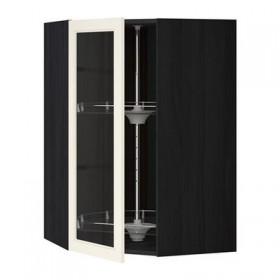 МЕТОД Углов навесн шк с врщ скц/сткл дв - 68x100 см, Хитарп белый с оттенком, под дерево черный