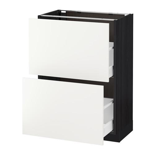 МЕТОД / МАКСИМЕРА Напольный шкаф с 2 ящиками - 60x37 см, Хэггеби белый, под дерево черный