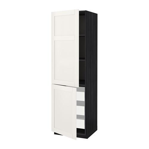 МЕТОД / МАКСИМЕРА Высокий шкаф+полки/3 ящика/2 дверцы - 60x60x200 см, Сэведаль белый, под дерево черный