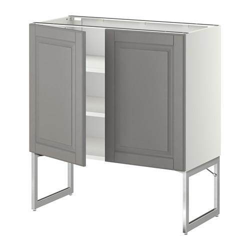МЕТОД Напол шкаф с полками/2двери - 80x37x60 см, Будбин серый, белый