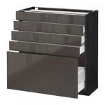 МЕТОД / МАКСИМЕРА Напольный шкаф с 5 ящиками - 80x37 см, Рингульт глянцевый серый, под дерево черный