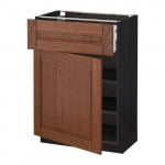 МЕТОД / МАКСИМЕРА Напольный шкаф с ящиком/дверью - 60x37 см, Филипстад коричневый, под дерево черный