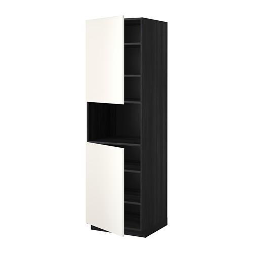 МЕТОД Выс шкаф д/СВЧ/2 дверцы/полки - 60x60x200 см, Веддинге белый, под дерево черный