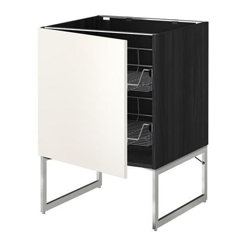 МЕТОД Напольный шкаф с проволочн ящиками - 60x60x60 см, Веддинге белый, под дерево черный
