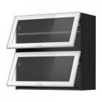 МЕТОД Навесн горизонтал шкаф/2 зерк дверц - 80x80 см, под дерево черный, Ютис матовое стекло/алюминий