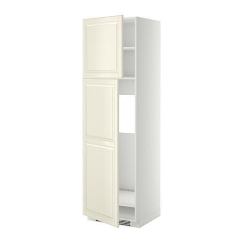 МЕТОД Высокий шкаф д/холодильника/2дверцы - 60x60x200 см, Будбин белый с оттенком, белый