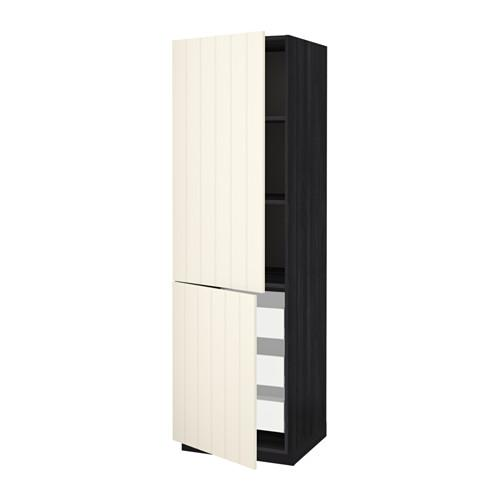 МЕТОД / МАКСИМЕРА Высокий шкаф+полки/3 ящика/2 дверцы - под дерево черный, Хитарп белый с оттенком, 60x60x200 см