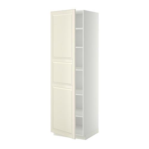 МЕТОД Высок шкаф с полками - 60x60x200 см, Будбин белый с оттенком, белый