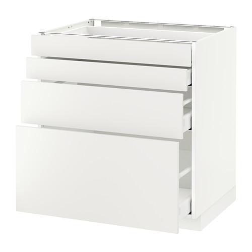 МЕТОД / МАКСИМЕРА Напольн шкаф 4 фронт панели/4 ящика - 80x60 см, Хэггеби белый, белый
