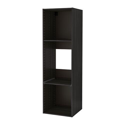 МЕТОД Каркас высокого шкафа д/духов/холод - под дерево черный, 60x60x200 см