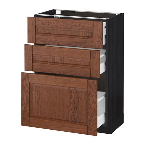 МЕТОД / МАКСИМЕРА Напольный шкаф с 3 ящиками - 60x37 см, Филипстад коричневый, под дерево черный