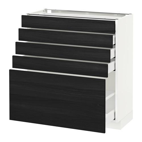 МЕТОД / МАКСИМЕРА Напольный шкаф с 5 ящиками - 80x37 см, Тингсрид под дерево черный, белый