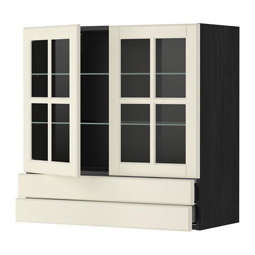 МЕТОД / МАКСИМЕРА Навесной шкаф/2 стек дв/2 ящика - 80x80 см, Будбин белый с оттенком, под дерево черный