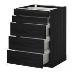 METHOD / wk FORVARA NPAP 5frnt / 2nzk / 3srd drawers - wood black, Tingsrid wood black, 60x60 cm