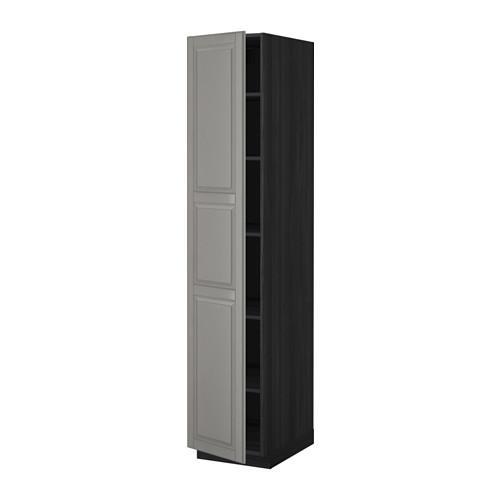 МЕТОД Высок шкаф с полками - под дерево черный, Будбин серый, 40x60x200 см