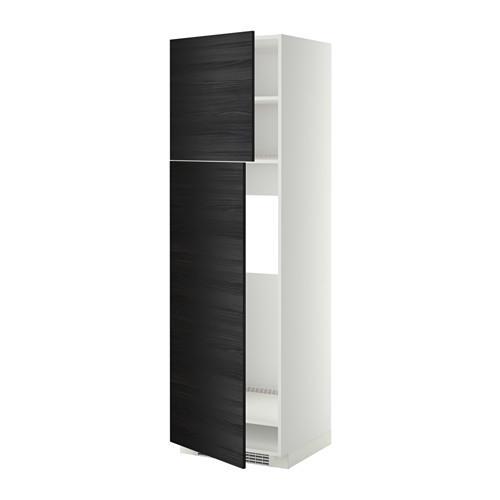 МЕТОД Высокий шкаф д/холодильника/2дверцы - 60x60x200 см, Тингсрид под дерево черный, белый