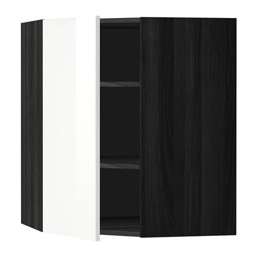 МЕТОД Угловой навесной шкаф с полками - 68x80 см, Рингульт глянцевый белый, под дерево черный