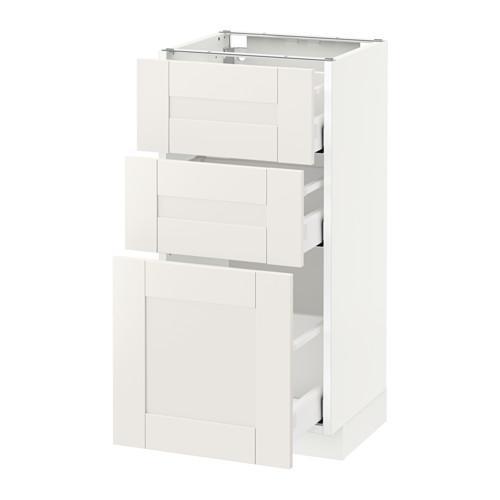 МЕТОД / МАКСИМЕРА Напольный шкаф с 3 ящиками - 40x37 см, Сэведаль белый, белый
