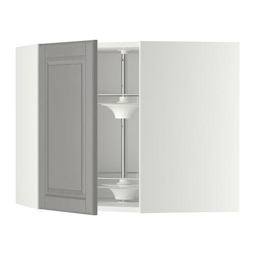 МЕТОД Угл нвсн шкф с вращающ секц - 68x60 см, Будбин серый, белый