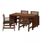 ÄPPLARÖ tabel + scaune 4, d / grădină maro pata / hollo negru