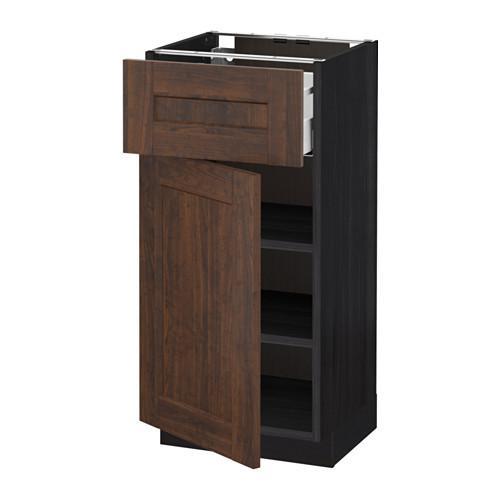 МЕТОД / МАКСИМЕРА Напольный шкаф с ящиком/дверью - 40x37 см, Эдсерум под дерево коричневый, под дерево черный