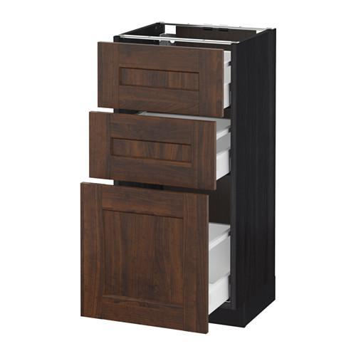 МЕТОД / МАКСИМЕРА Напольный шкаф с 3 ящиками - 40x37 см, Эдсерум под дерево коричневый, под дерево черный