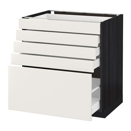 МЕТОД / МАКСИМЕРА Напольный шкаф с 5 ящиками - 80x60 см, Веддинге белый, под дерево черный