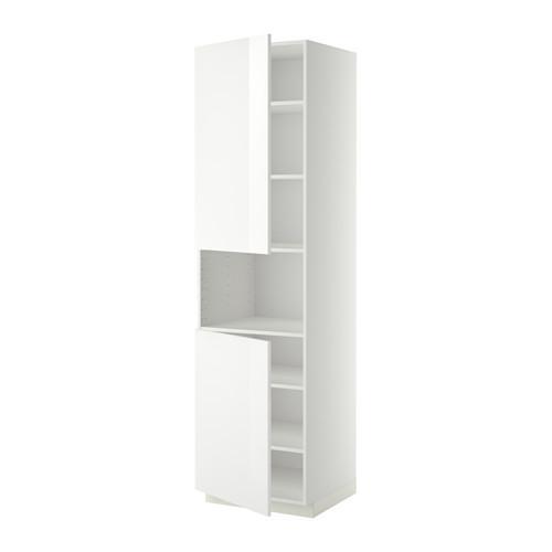 МЕТОД Выс шкаф д/СВЧ/2 дверцы/полки - 60x60x220 см, Рингульт глянцевый белый, белый