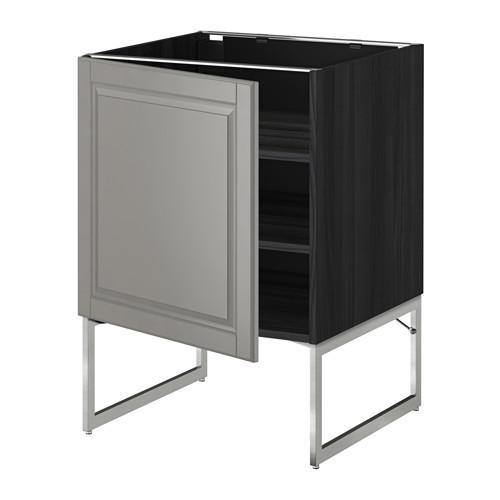 МЕТОД Напольный шкаф с полками - 60x60x60 см, Будбин серый, под дерево черный