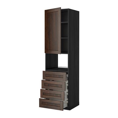 МЕТОД / МАКСИМЕРА Высок шкаф д/духовки/дверца/4ящика - 60x60x220 см, Эдсерум под дерево коричневый, под дерево черный