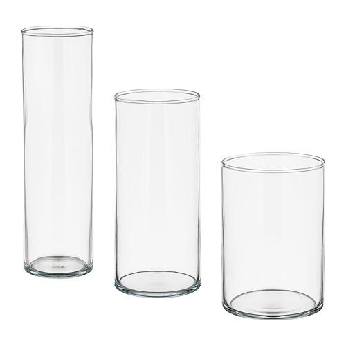 ЦИЛИНДР Набор ваз,3 штуки - прозрачное стекло