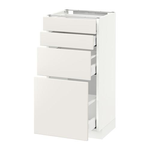 МЕТОД / МАКСИМЕРА Напольн шкаф 4 фронт панели/4 ящика - 40x37 см, Веддинге белый, белый