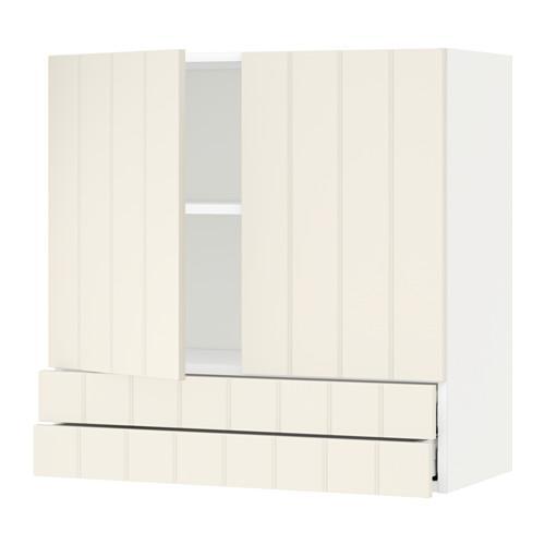 МЕТОД / МАКСИМЕРА Навесной шкаф/2дверцы/2ящика - 80x80 см, Хитарп белый с оттенком, белый