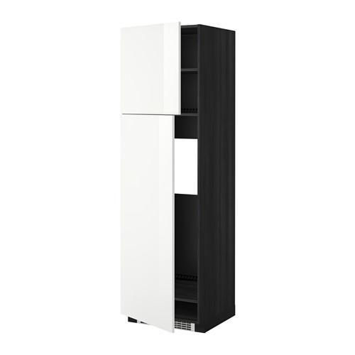 МЕТОД Высокий шкаф д/холодильника/2дверцы - 60x60x200 см, Рингульт глянцевый белый, под дерево черный
