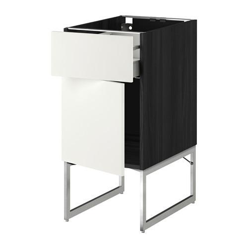 МЕТОД / МАКСИМЕРА Напольный шкаф с ящиком/дверью - 40x60x60 см, Хэггеби белый, под дерево черный