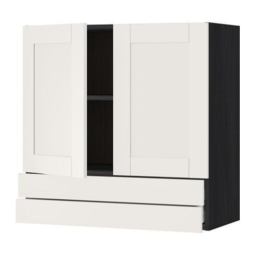 МЕТОД / МАКСИМЕРА Навесной шкаф/2дверцы/2ящика - 80x80 см, Сэведаль белый, под дерево черный