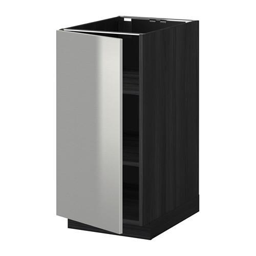 МЕТОД Напольный шкаф с полками - 40x60 см, Гревста нержавеющ сталь, под дерево черный