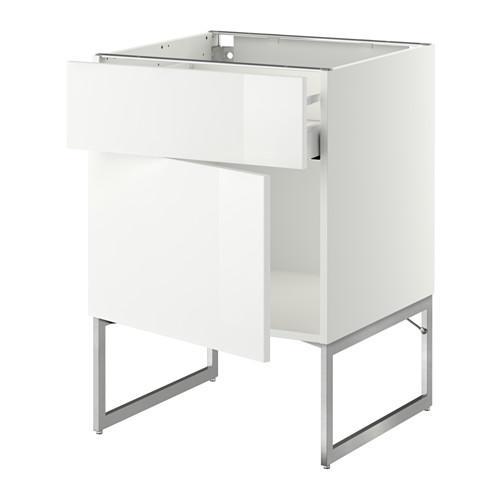 МЕТОД / МАКСИМЕРА Напольный шкаф с ящиком/дверью - 60x60x60 см, Рингульт глянцевый белый, белый