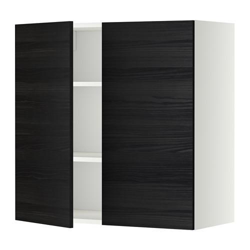 МЕТОД Навесной шкаф с полками/2дверцы - 80x80 см, Тингсрид под дерево черный, белый