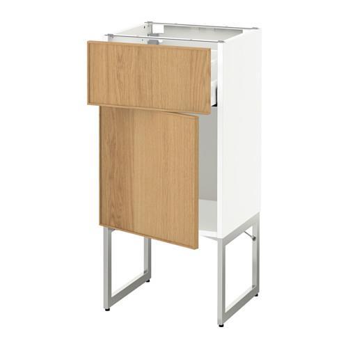 МЕТОД / МАКСИМЕРА Напольный шкаф с ящиком/дверью - 40x37x60 см, Экестад дуб, белый