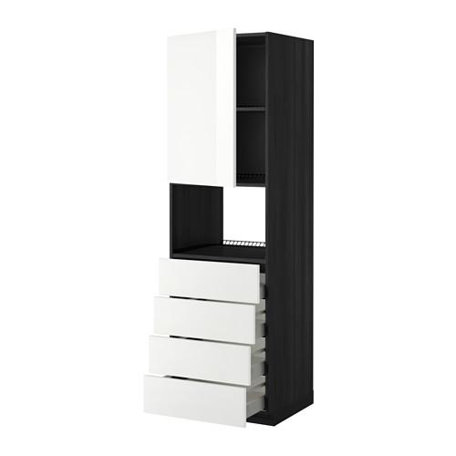 МЕТОД / МАКСИМЕРА Высок шкаф д/духовки/дверца/4ящика - 60x60x200 см, Рингульт глянцевый белый, под дерево черный