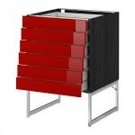МЕТОД / МАКСИМЕРА Напольн шкаф 6фронт пнл/6 низ ящ - 60x60x60 см, Рингульт глянцевый красный, под дерево черный