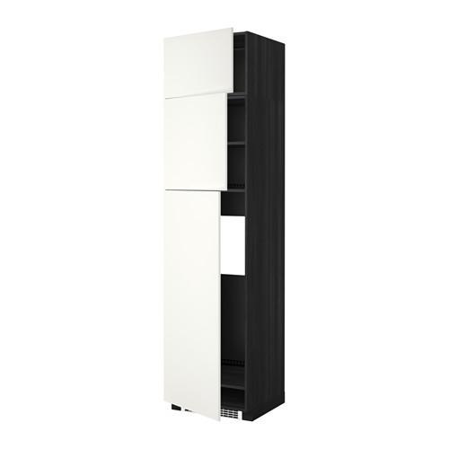МЕТОД Высокий шкаф д/холодильника/3дверцы - Хэггеби белый, под дерево черный