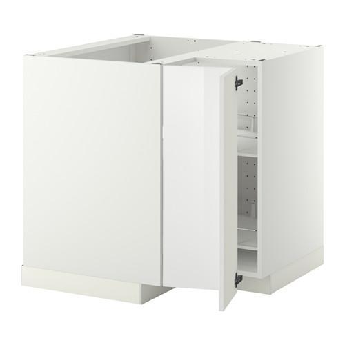МЕТОД Угл напольн шкаф с вращающ секц - Рингульт глянцевый белый, белый